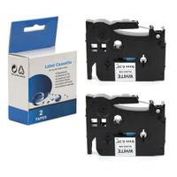 "Brother TZ-S221/TZE-S221 Black on White 9mm 3/8"" Label Tape"
