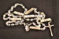Crystal Bead Rosary with the Mysteries on each Our Father Bead