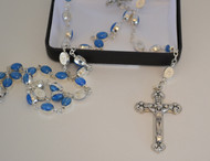 "Blue Miraculous Medal Rosary - 24"" Long"