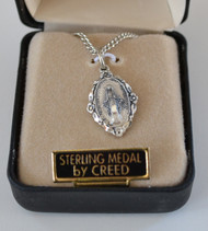 Petite Serling Silver Miraculous Medal Necklace