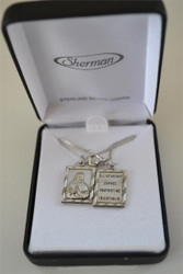 Sterling Silver Scapular Necklace, with 2 Pendants, by HJ Sherman Co.