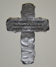 Pewter Slate-Look Message Cross - Confirmed in Christ