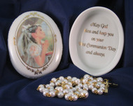 Girl's First Holy Communion Porcelain Box and Rosary