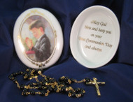 Boy's First Holy Communion Porcelain Box and Rosary