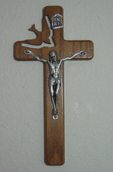 Ash Holy Spirit Crucifix with a Pewter Corpus