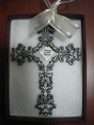 Blessings on Your Baptism Pewter Filigree Wall Cross - Ivory, 5""