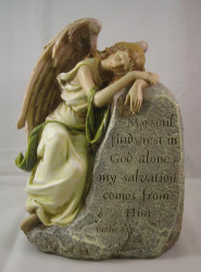 Memorial Angel Resting on a Rock - Psalm 62:1, Garden Statue