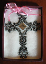 Bless This Child  - Pewter Filigree Wall Cross - Pink, 5""