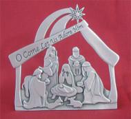 Standing pewter nativity scene