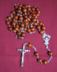 Light Brown Wood Rosary, Oval 6x8mm Beads