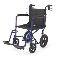 "Aluminum Transport Chair with 12"" Wheels,Blue,F: 8   R: 12"