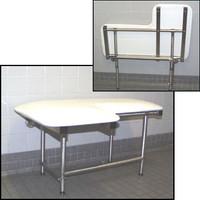 "Seachrome L-Shaped 28"" x 22.5"" Left Hand Shower Transfer Seat Naugahyde w/ Swing Down Legs - SSL2-280225 NW"