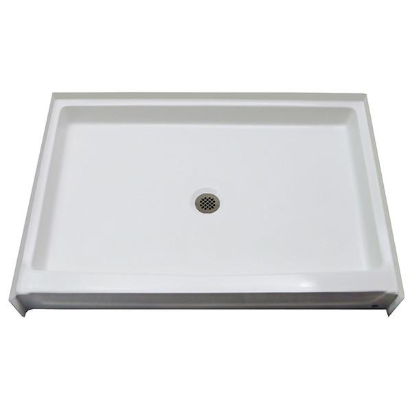 "Aquarius 54"" x 34"" Gelcoat Shower Base With 5"" Easy-Step Threshold Center Drain - G5434SH PAN | nationwidebath.com"