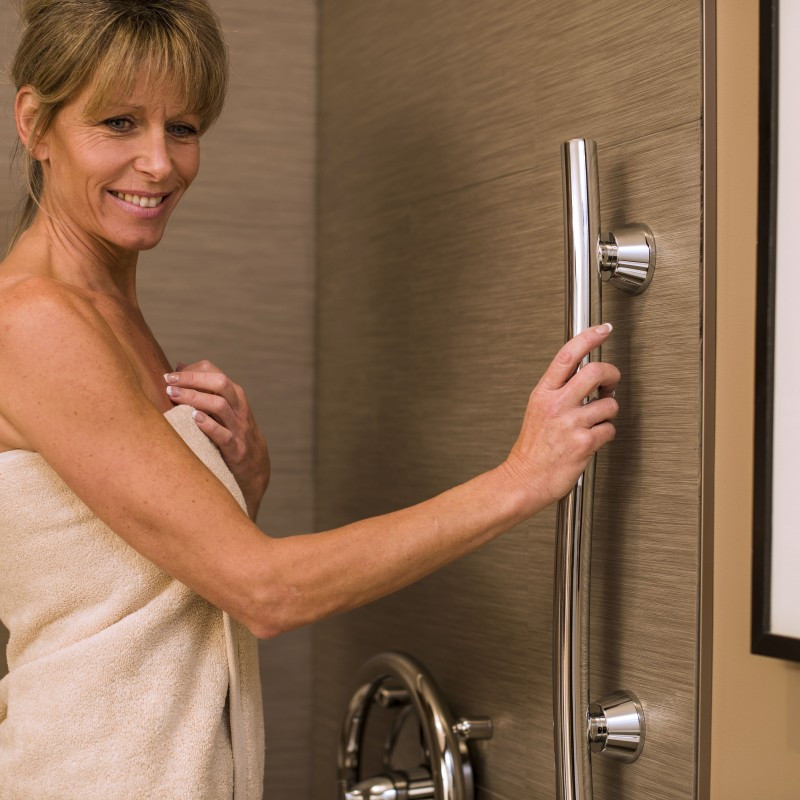 Grab Bar Accent Support Rail by Invisia | Brushed Stainless | 500 lb. Capacity | INV-ACB-BS