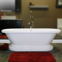 """Cambridge Plumbing - Acrylic Double Ended Pedestal Bathtub 70"""" X 30"""" - ADEP-NH"""