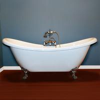 "Cambridge Plumbing - Acrylic Double Ended Slipper Bathtub 68"" X 28"" - ADES"
