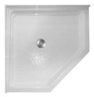 "Aquarius 38 x 38 Acrylic Corner Shower Base With 4"" Easy-Step Threshold Center Drain - ABC-3838"
