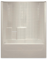 Aquarius Gelcoat 60 x 32.5 Residential Tub Shower Combination Simulated Tile Pattern w/ Left Side Drain - G3206TSTileL
