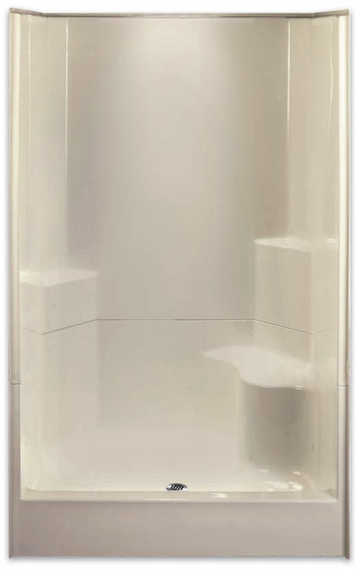 Aquarius | Gelcoat 48 x 35.5 Shower | 2-Piece Sectional | Right Side Molded Seat & Center Drain | G4887SH2P1SR