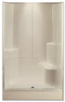 Aquarius Gelcoat 48 x 35.5 Residential Shower 3-Piece Sectional w/ Right Side Molded Seat & Center Drain - G4887SH3P1SR