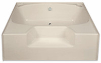 Aquarius 54 x 41 Residential Gelcoat Soaking Tub - Drain Center - G5441TO