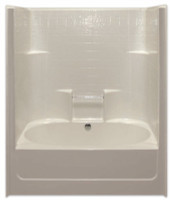 Aquarius Gelcoat 60 x 43.25 Residential Tub Shower Combination Simulated Tile Pattern w/ Center Drain - G6042TSCDTile