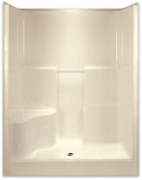 Aquarius Gelcoat 60 x 36.5 Residential Shower Smooth Wall w/ 1 Molded Seat Right Side & Center Drain - G6077SH1SR