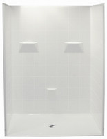 "Aquarius 60 x 49 HUD Multi-Piece Gelcoat Shower 1.125"" Barrier Free Threshold Drain Center - MP 6048 BF 5P 1.125"
