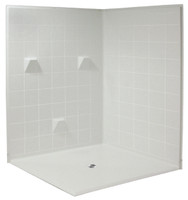 Aquarius 61 x 61 HUD Compliant Multi-Piece Dual Entry Gelcoat Shower