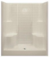 Aquarius Gelcoat 60 x 36 Residential Shower Simulated Tile Pattern w/ 2 Molded Seats & Center Drain - G6099SH2STile