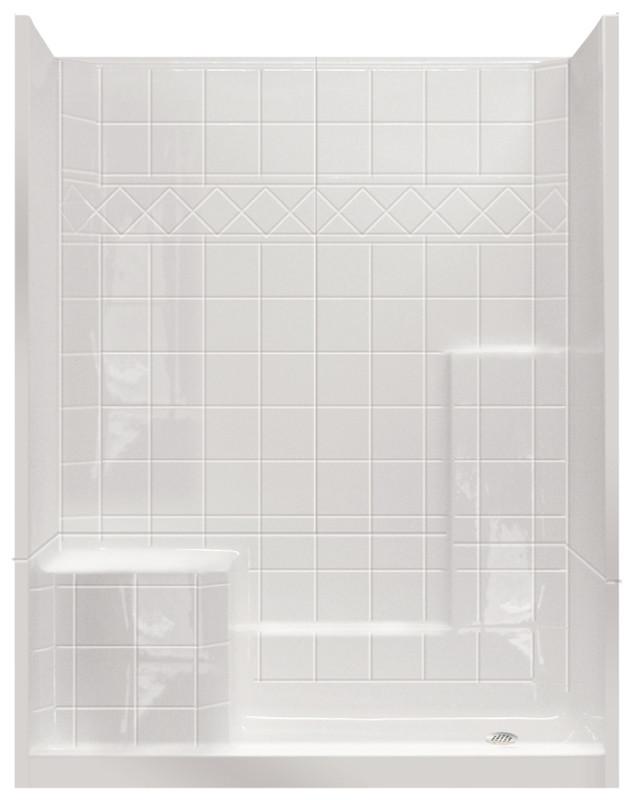 Aquarius Millennia 60 x 33 Gelcoat 3-Piece Shower | Molded Seat ...