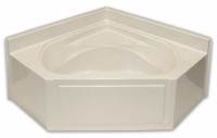 Aquarius 60 x 60 Residential Gelcoat Corner Soaking Tub - Drain Center - G6060TOAP