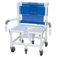 Bariatric Shower Chair With Dual Drop Arm and Square Pail