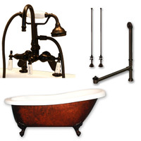 "Cambridge Plumbing - Acrylic Slipper Clawfoot Bathtub 61?x30"" Faux Copper Bronze Finish on Exterior with 7"" Deck Mount Faucet Drillings and Complete Oil Rubbed Bronze Plumbing Package 2"