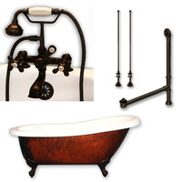 "Cambridge Plumbing - Acrylic Slipper Clawfoot Bathtub 61?x30"" Faux Copper Bronze Finish on Exterior with 7"" Deck Mount Faucet Drillings and Complete Oil Rubbed Bronze Plumbing Package 3"