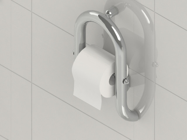 Toilet Roll Holder Grab Bar by Invisia | Integrated support rail | Polished Chrome | 500lb Capacity | INV-WTRH-CP