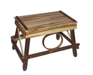 Amish Bentwood Foot Stool - Solid Walnut & Wormy Maple