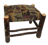 Rustic Hickory Ottoman with Brown Cabin Fabric