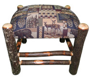 Rustic Hickory Ottoman with Woodsman Fabric