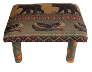 Rustic Hickory Small Stool Ottoman with Bear Creek Fabric
