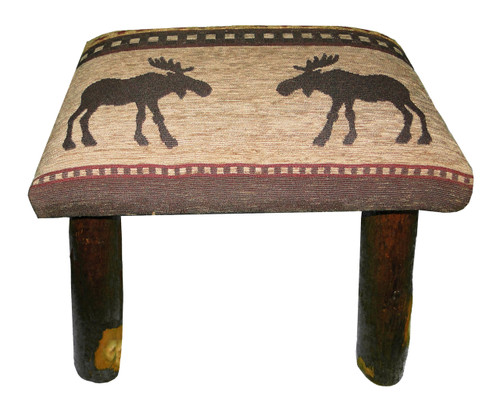 Rustic Hickory Small Stool Ottoman With Brown Moose Fabric
