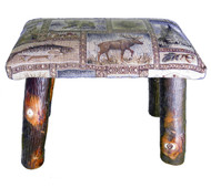 Rustic Hickory Small Stool Ottoman with Winter Woodlands Fabric