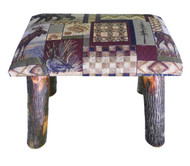 Rustic Hickory Small Stool Ottoman with Woodsman Fabric