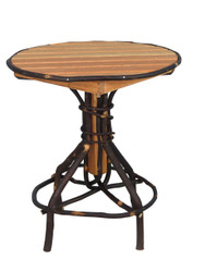Amish Bentwood Round Pedestal Side Table - Hickory & Oak