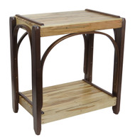Amish Bentwood End Table - Solid Walnut & Wormy Maple