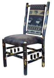 Rustic Hickory Dining Chair with Spindle Sides - Elk Run Fabric