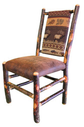 Rustic Hickory Dining Chair - Elk Run Fabric