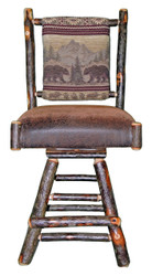 "Rustic Hickory Swivel Bar Stool 24"" - Bear Mountain Fabric"