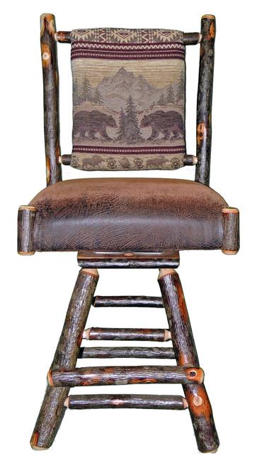 Rustic Hickory Swivel Bar Stool Bear Mountain Fabric