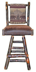 "Rustic Hickory Swivel Bar Stool 30"" - Bear Mountain Fabric"